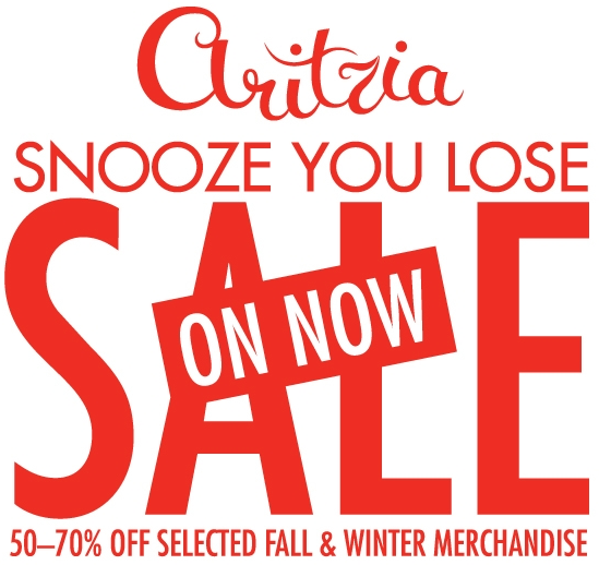 Aritzia Snooze You Lose Sale February 2009