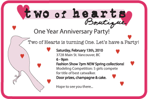 Two of Hearts One Year Anniversary Party