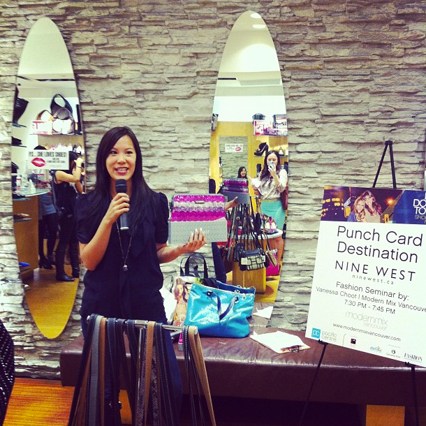 Giving a style presentation on behalf of Modern Mix Vancouver at Nine West.