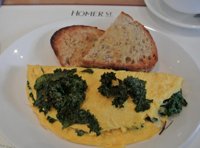 homer street cafe kale omlette