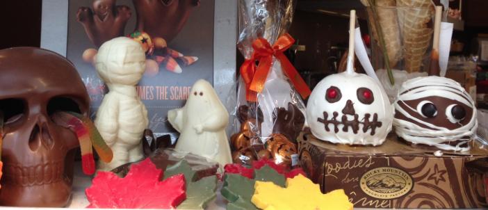 Halloween Window Display at Rocky Mountain Chocolate Factory