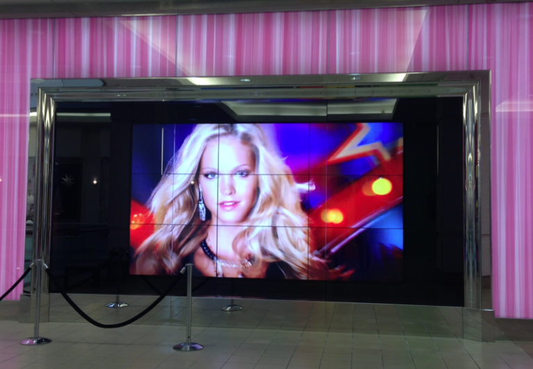 The hallway outside the new Victoria's Secret store at Metropolis at Metrotown has a huge TV screen.