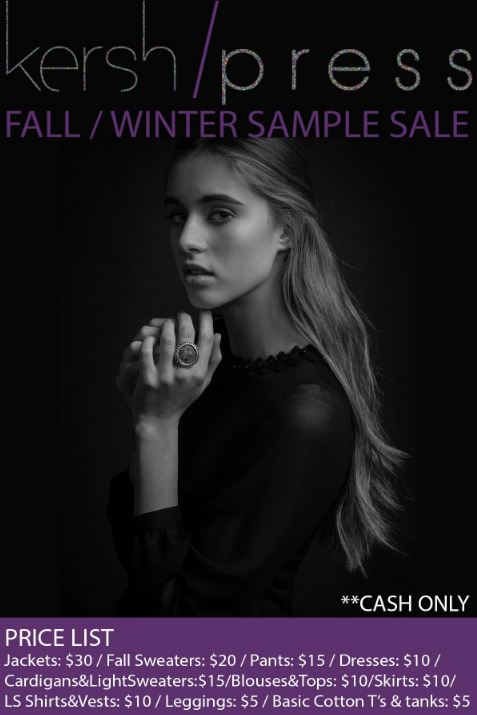 Flyer for Kersh / Press Holiday 2013 Sample Sale