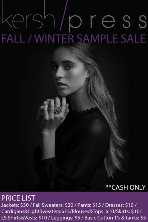Flyer for Kersh / Press Holiday 2013 Sample Sale