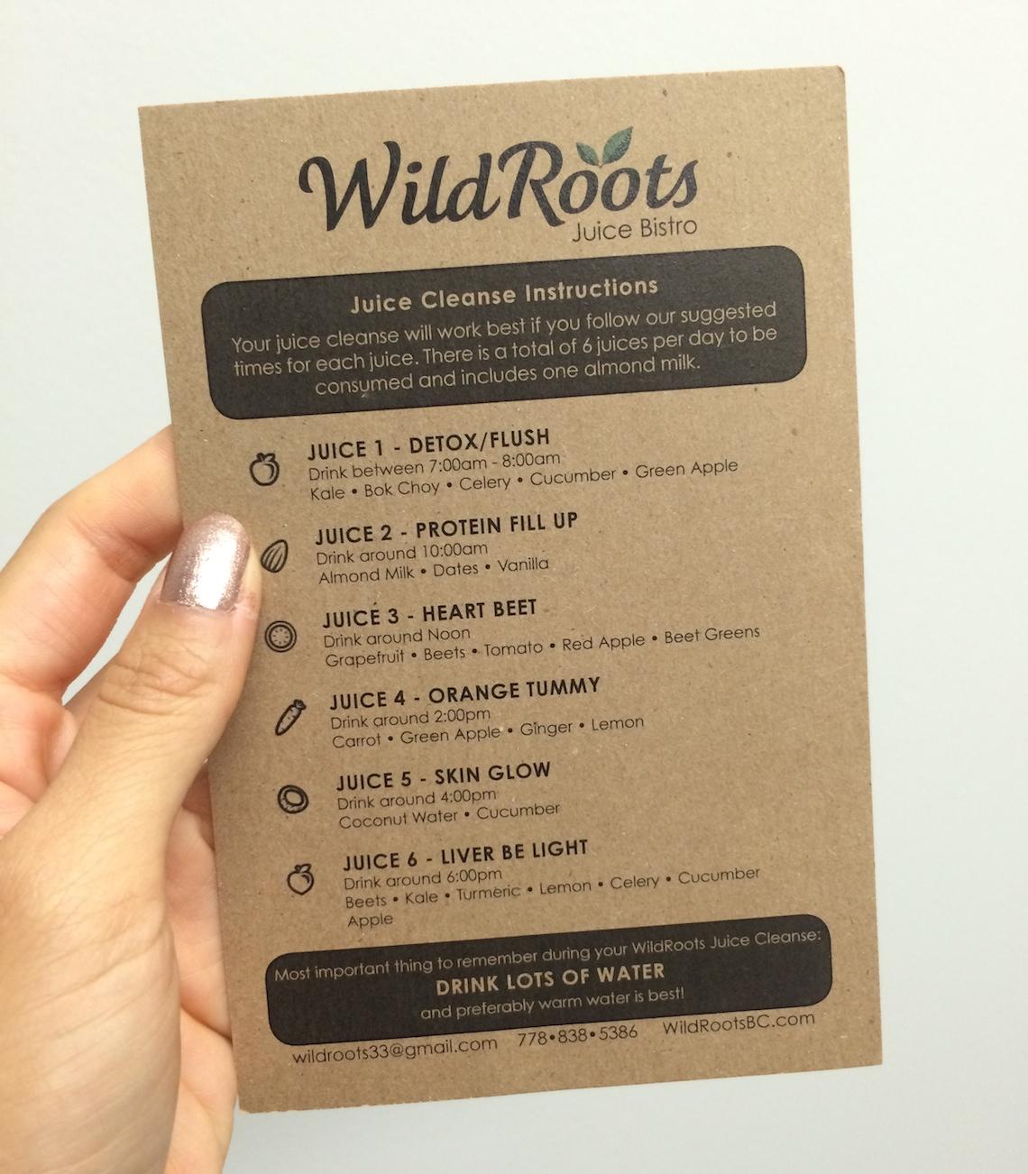 wildroots bc juice cleanse menu