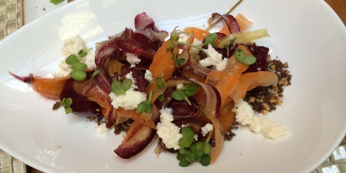 "Root Vegetables - Smoked Ricotta, Shaved Heirloom Carrots, Beets & Hazelnut ""Soil""."