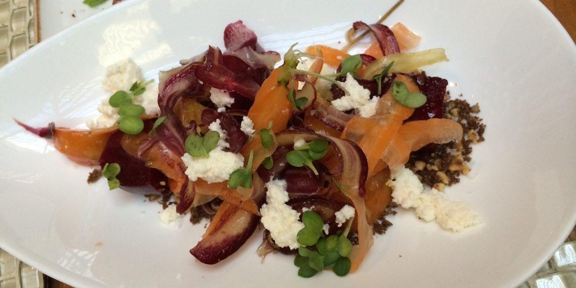 "Root Vegetables - Smoked Ricotta, Shaved Heirloom Carrots, Beets & Hazelnut ""Soil""."