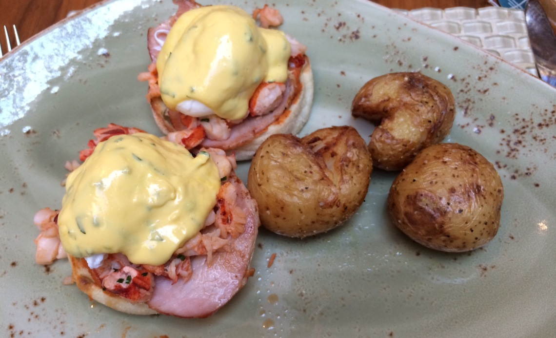 Lobster Benny - Atlantic Lobster, Back Bacon, Romesco, Hollandaise, English Muffin, Poached Eggs.