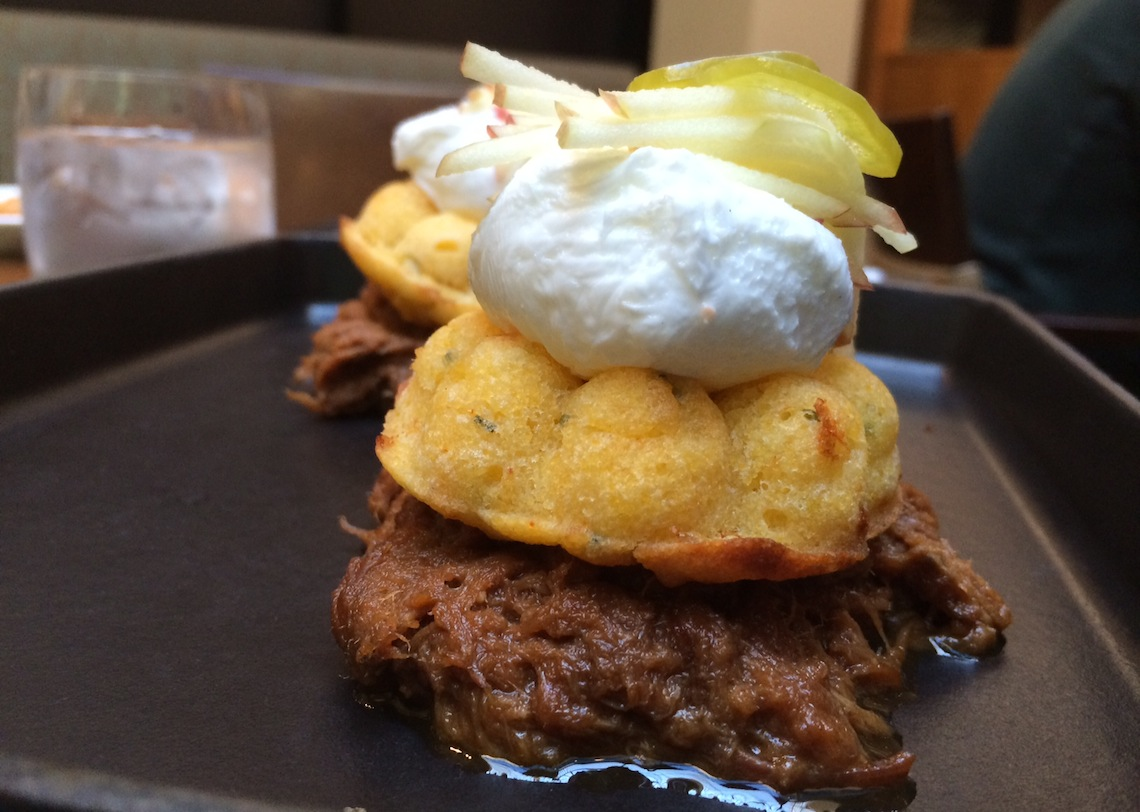Pulled Pork & Eggs - Root Beer Braised Pork, Gluten-free Corn Bread, Jalapeno, Poached Eggs.