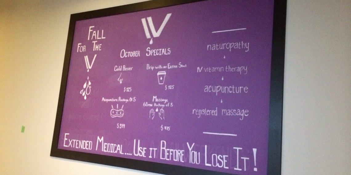 iv wellness yaletown chalkboard
