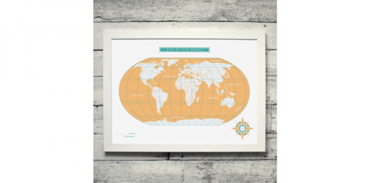 Map of the World Poster from Etsy