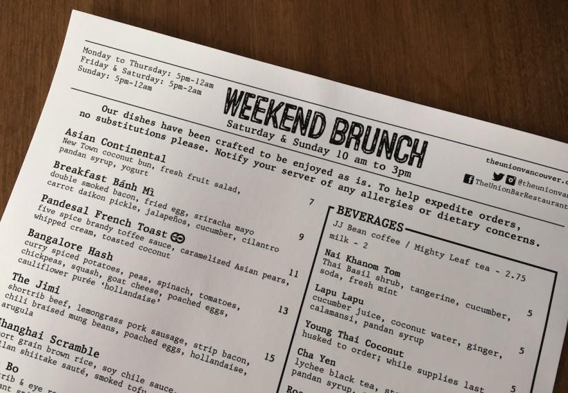 the union vancouver weekend brunch menu