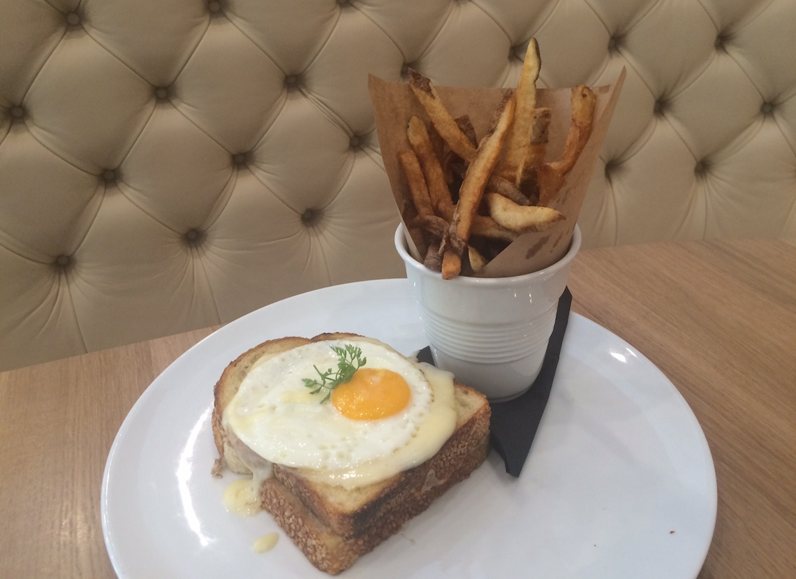 Beef Short Rib Croque Madame ($19) with Braised Beef Short Rib, Sunny Side Up Egg, Béchamel Sauce and Sourdough Bread.
