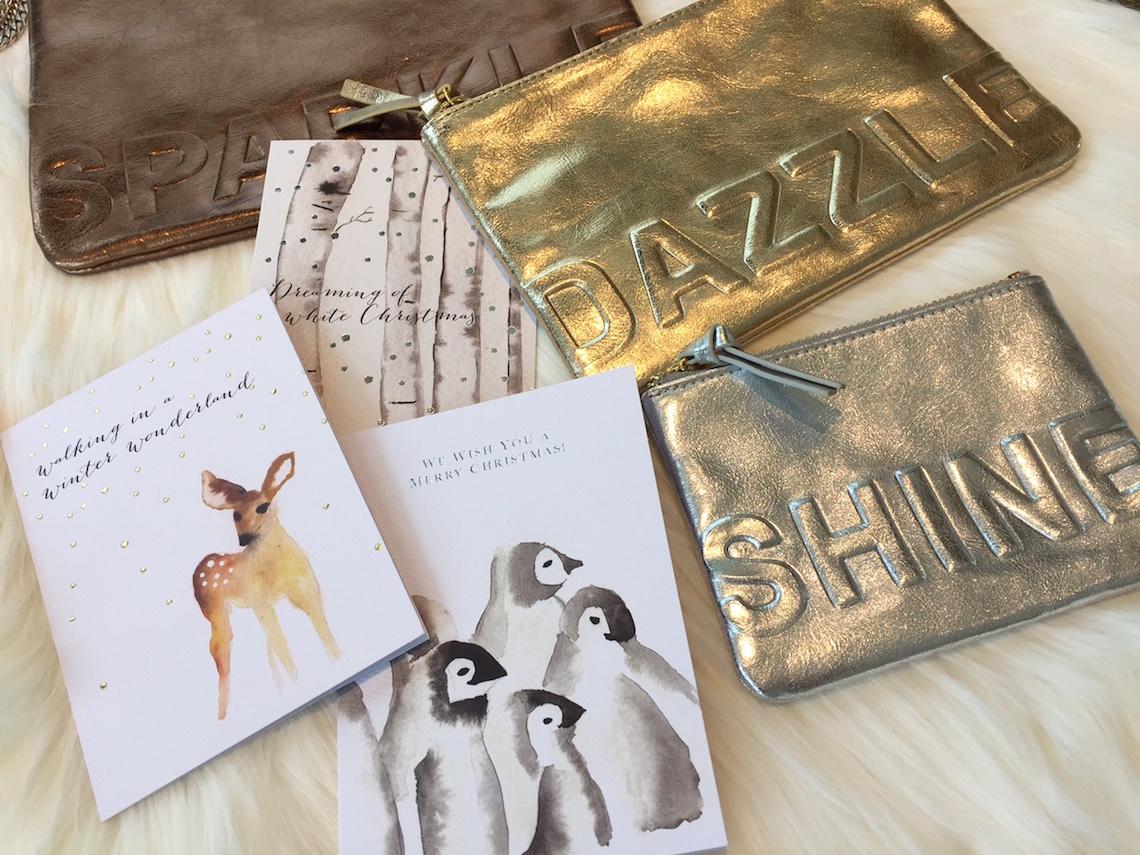 "Embossed Metallic Pouches: ""Sparkle"" ($22) / Dazzle ($19) / Shine ($16)"