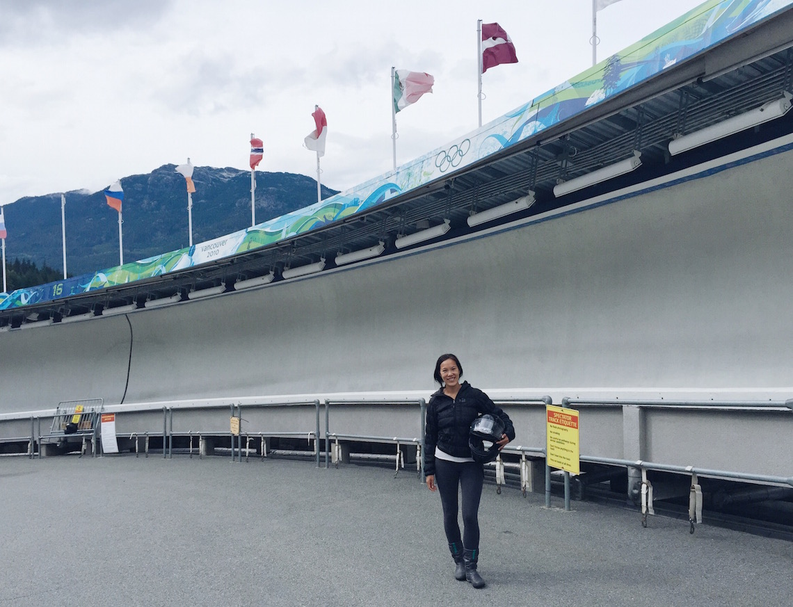 Finished my first summer bobsleigh ride in Whistler.
