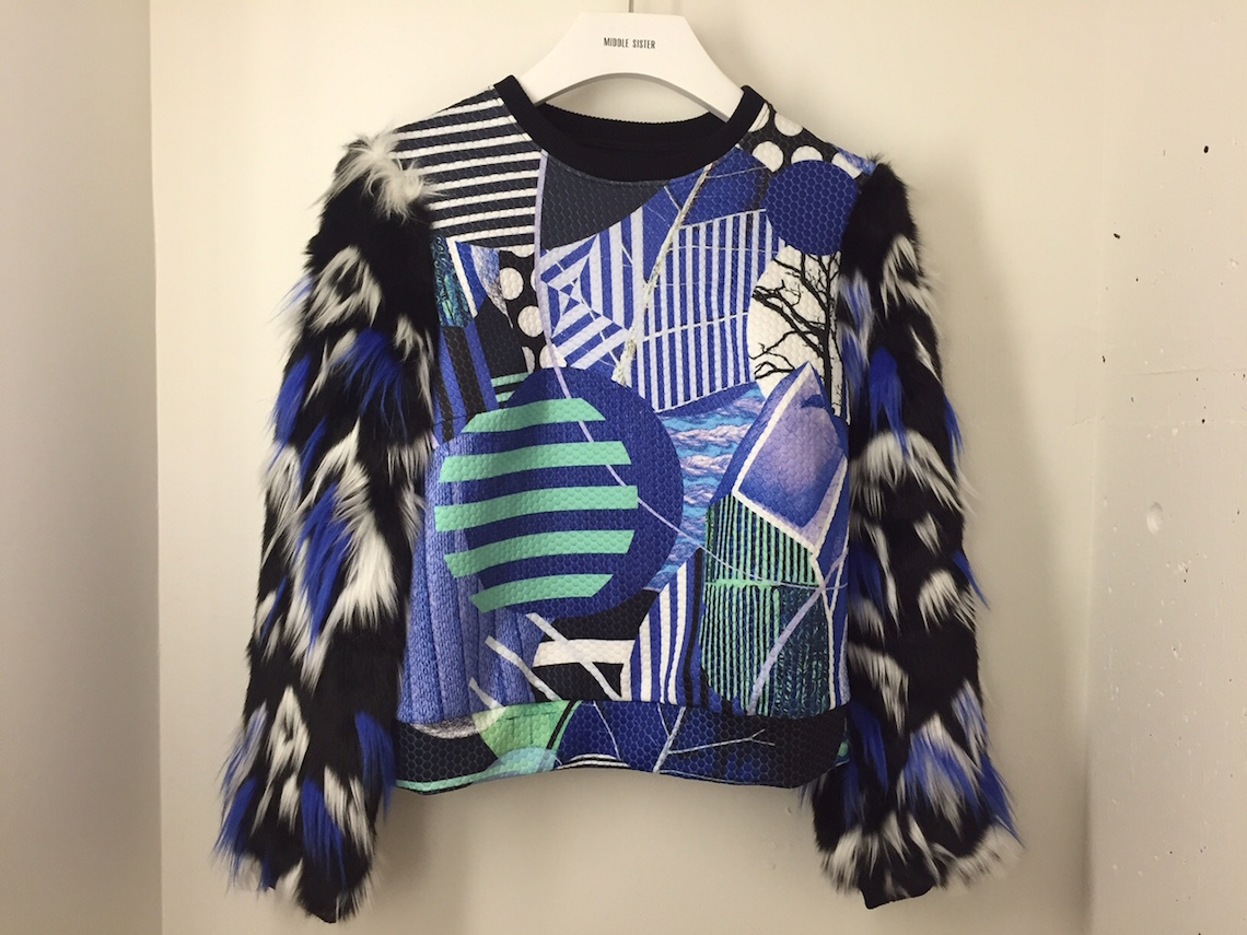 Middle Sister Boutique LIE blue top with the faux fur sleeves $229.99