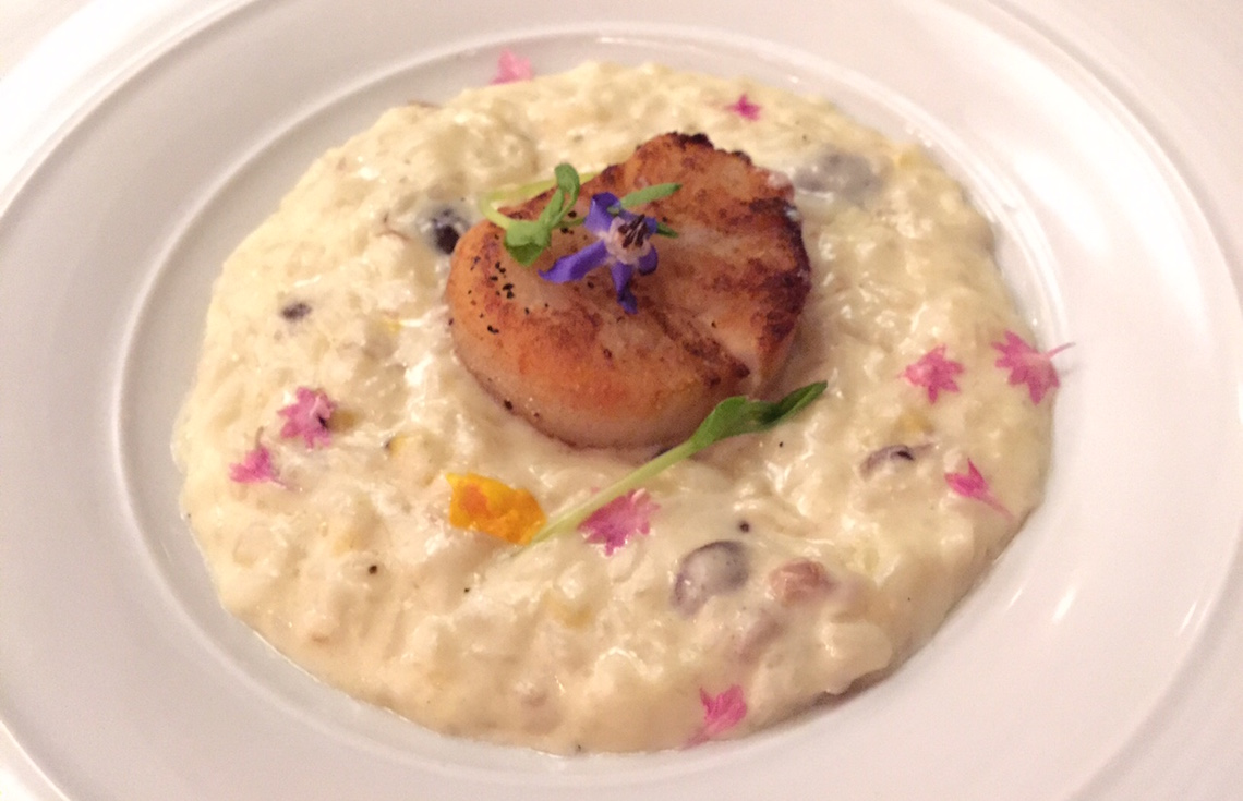 Pierside Kitchen: Pecorino Cream Risotto and Jumbo Scallop, Roasted Corn, Foraged Wild Mushrooms