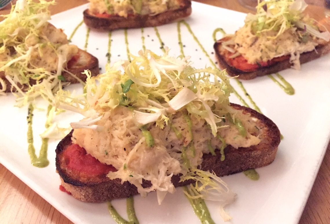 Pierside Kitchen: Dungeness Crab Tartine with Fennel Shavings, Tomato Chutney, Basil Lemon Aioli, Frisee