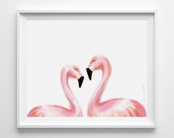 triple studio flamingo painting