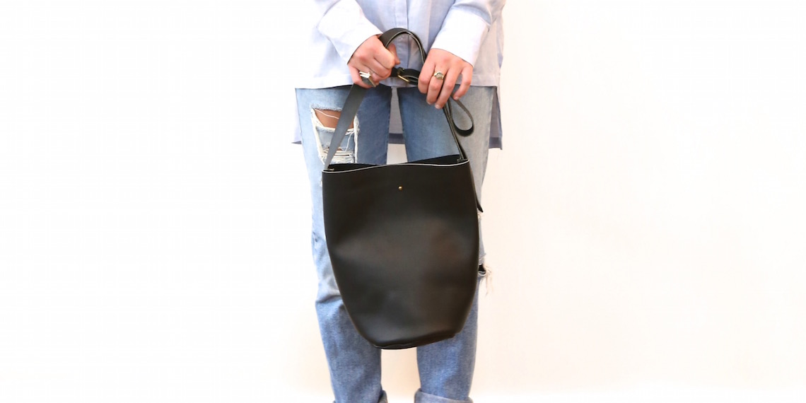 market canvas bucket leather bag