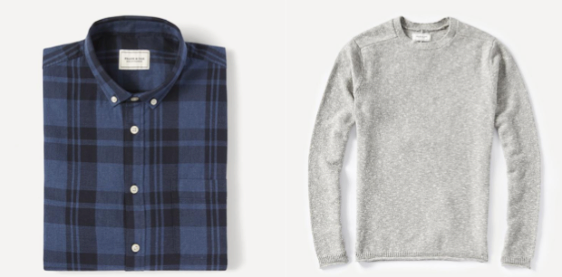Plaid Light Flannel Shirt in Blue ($52) / Markled Yarn Wool-Blend Sweater in Gray ($74)