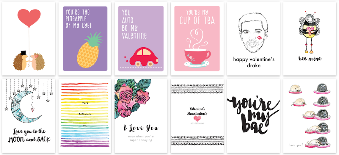 A selection of Valentine's Day cards that you can send through Vancouver's JustGreet.com
