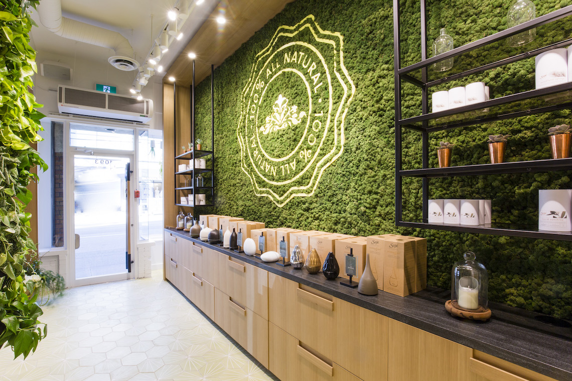 Saje natural wellness robson street modern mix vancouver for Sustainable interior design products