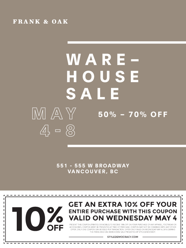frank and oak vancouver warehouse sale