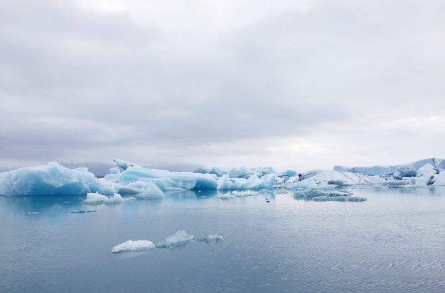 Icebergs at jokulsarlon glacier lagoon Iceland