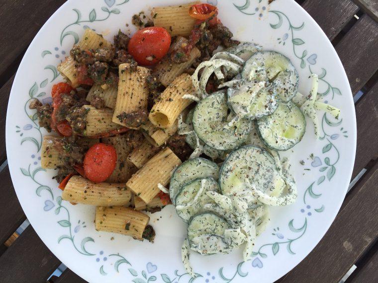 Lamb Rigatoni with Mint Pesto and Cucumber Salad