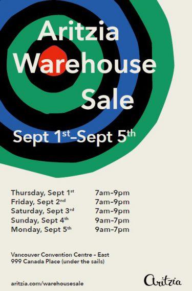 aritzia warehouse sale 2016
