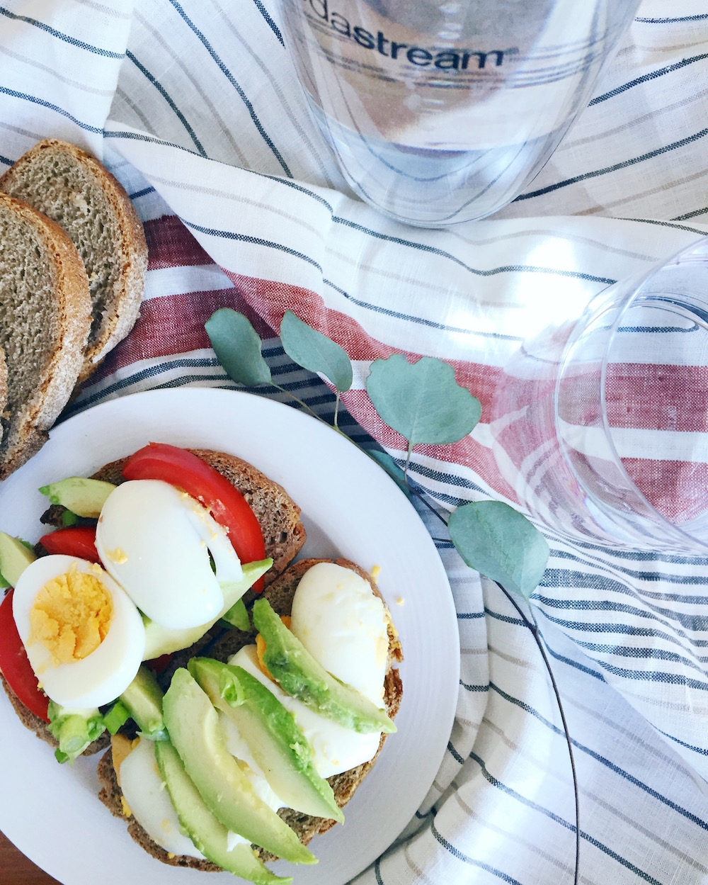 Avocado, eggs, and tomato on sourdough bread served with SodaStream sparkling water.