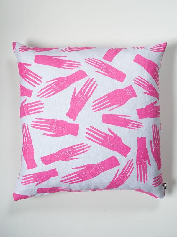 Banquet Atelier Neon Pink Palmistry Hands Linen Pillow ($66)