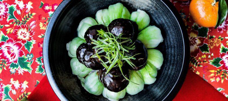 Chinese New Year Recipe Braised Mushroom and Sesame Bok Choy
