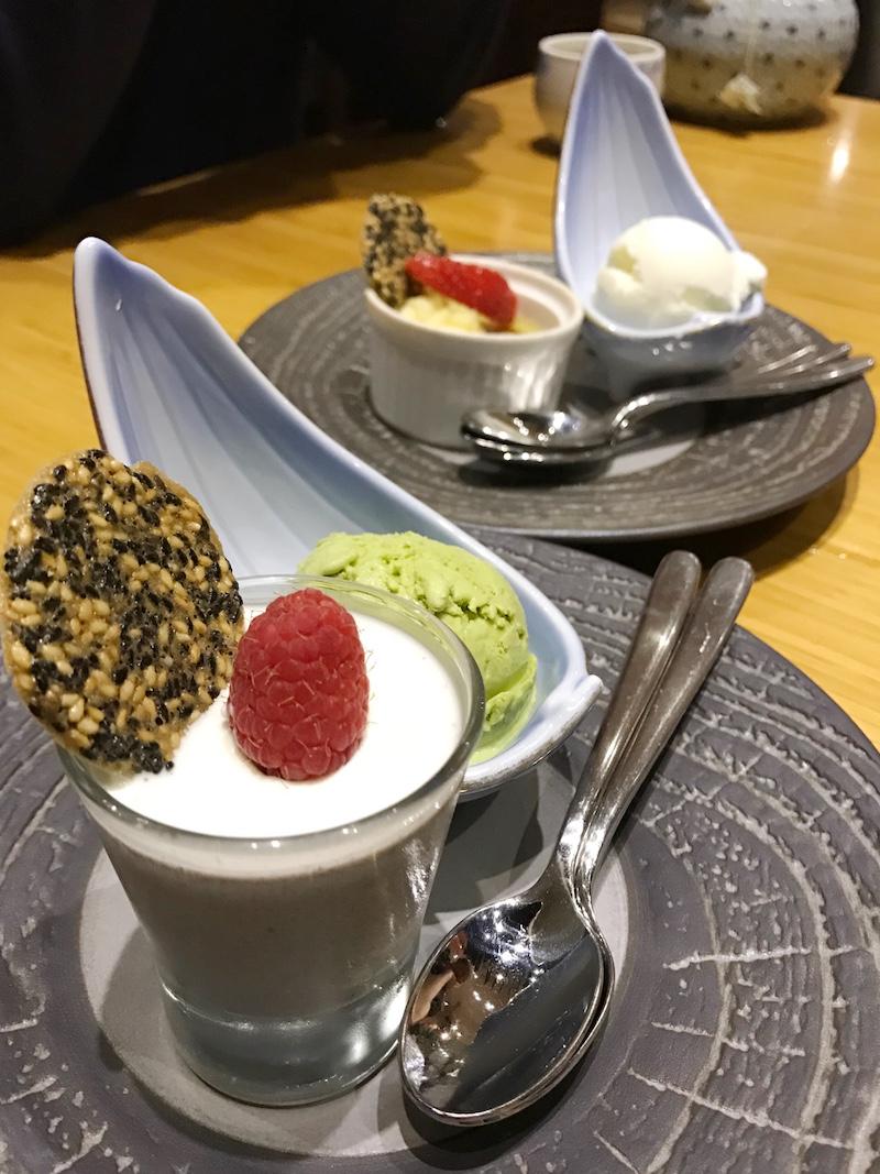 Sesame Panna Cotta and Green Tea Creme Brûlée