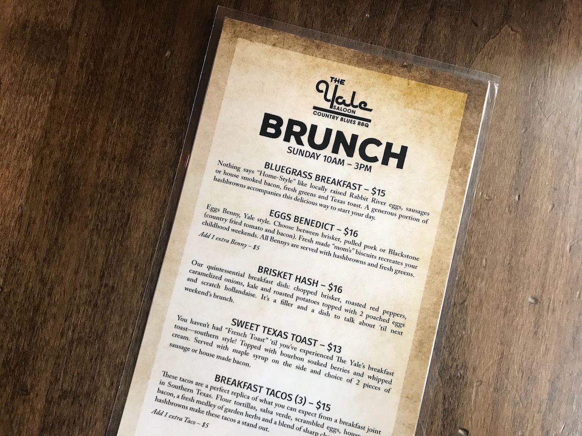 The Yale Saloon Sunday Brunch Menu