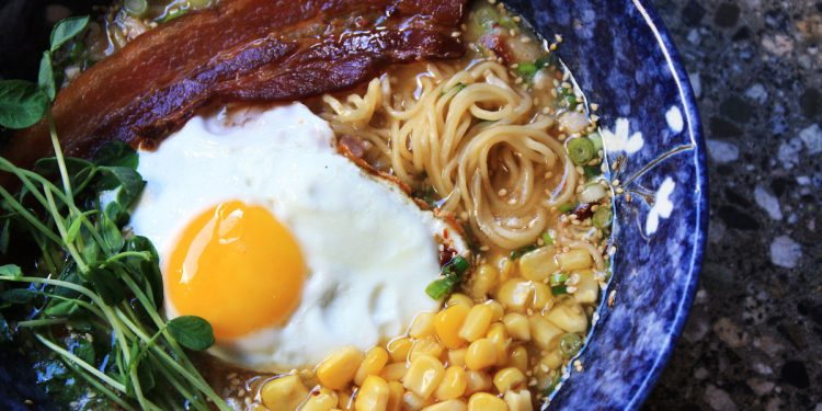 Bacon 'n Egg Ramen at Gyoza Bar, Vancouver