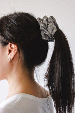 Grey and white polka dot scrunchie