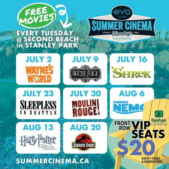 Free Outdoor Movies on Tuesdays at Stanley Park's Second Beach from July 2 to August 20