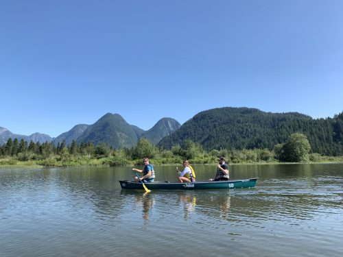 canoeing at Pitt lake to widgeon falls