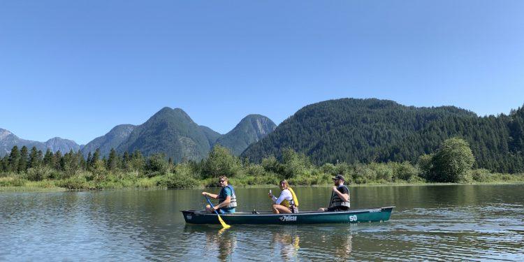 canoeing at Pitt lake to widgeon falls