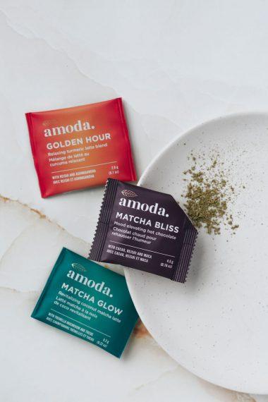 Amoda matcha bliss, amoda matcha glow, and amoda golden hour latte mixes