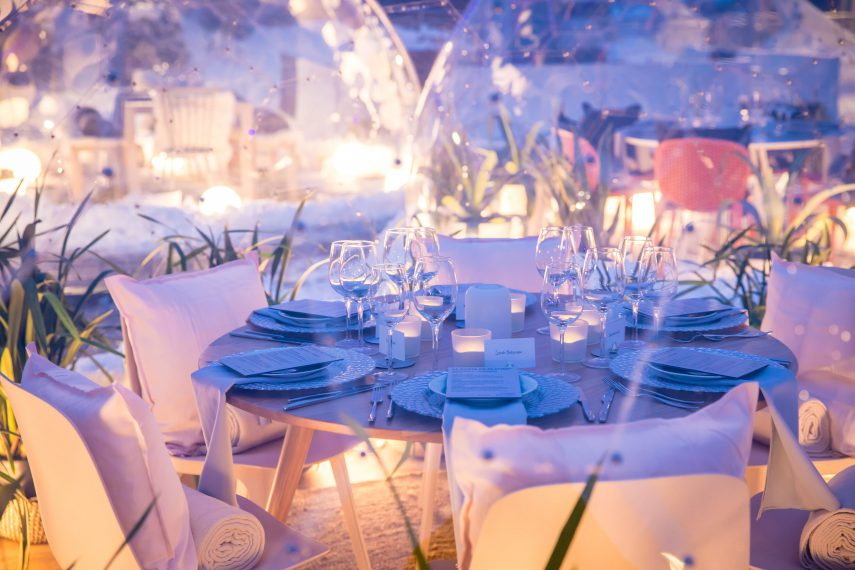 Outdoor dining in a dome with Dinner with a View