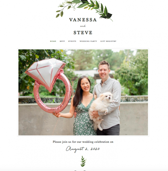 Minted wedding website example