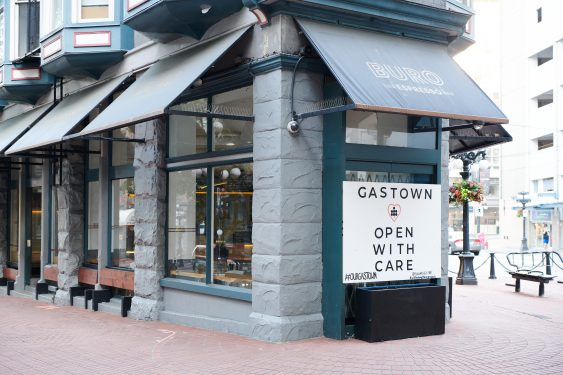Gastown Open With Care Mural at Buro Coffee