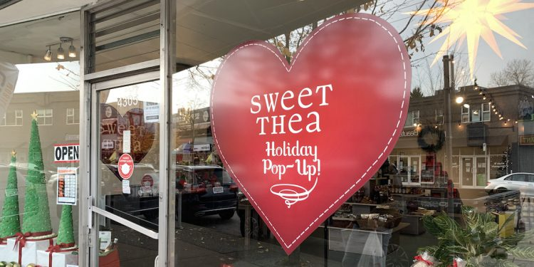 sweet thea holiday pop up storefront on Main Street