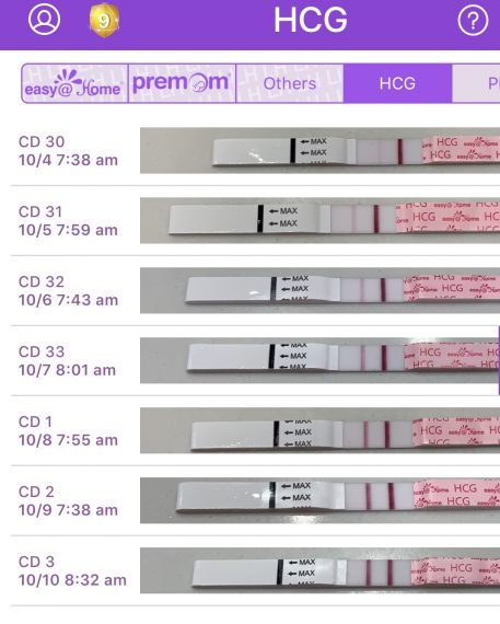 Screenshot of Pregnancy Test Results from Easy@Home Premom App