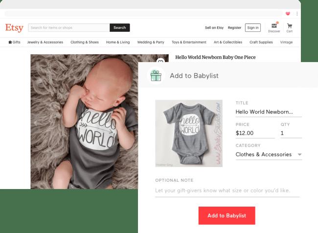 Babylist gift registry screenshot