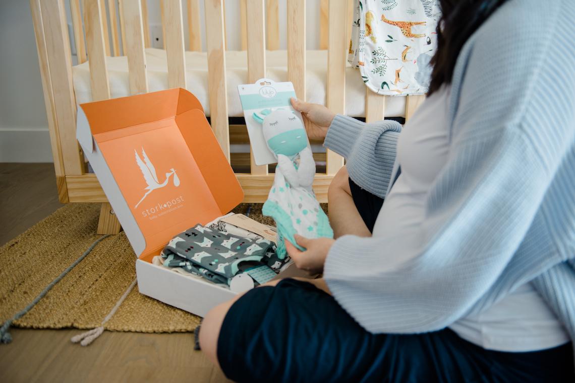 Lulujo Giraffe Lovey in my Stork Post baby subscription box