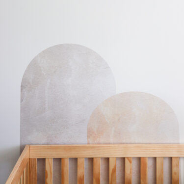"Urban Walls ""Shapes & Sizes Wall Decals behind nursery crib"